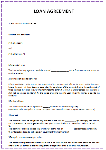 Loan Contract Template Word New Document Templates Loan Agreement Template In Word  News To Go 2 .