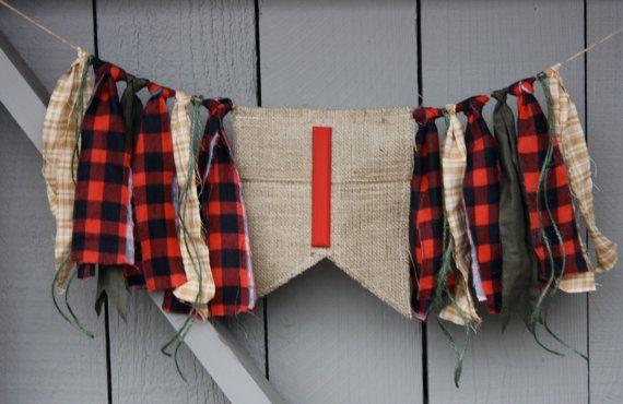Lumberjack First Birthday Highchair Banner Fabric Rag Tie ...