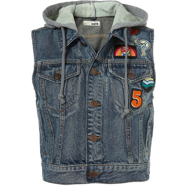 Badge Denim Sleeveless Gilet (1.140 ARS) ❤ liked on Polyvore featuring outerwear, vests, jackets, tops, women, sleeveless denim vest, blue vest, hooded denim vest, sleeveless jersey and hooded vest