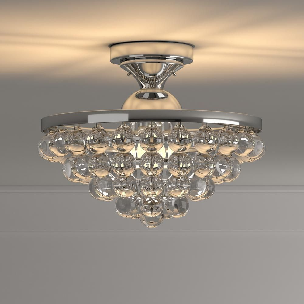 Home Decorators Collection 13 In 4 Light Chrome Semi Flush Mount With Clear Crystal Balls Shade 24429fm 15 Modern Flush Mount Lighting Crystal Ball Clear Crystal