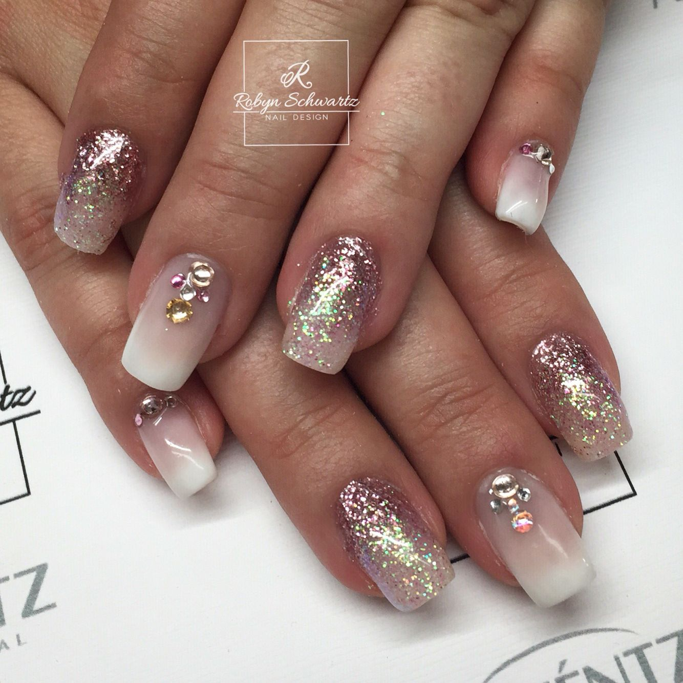 Glitter and French ombré gel nails | Blingy Nails | Pinterest