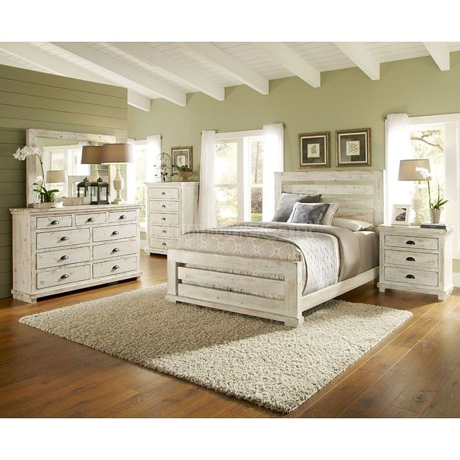 Willow Slat Bedroom Set Distressed White Distressed White