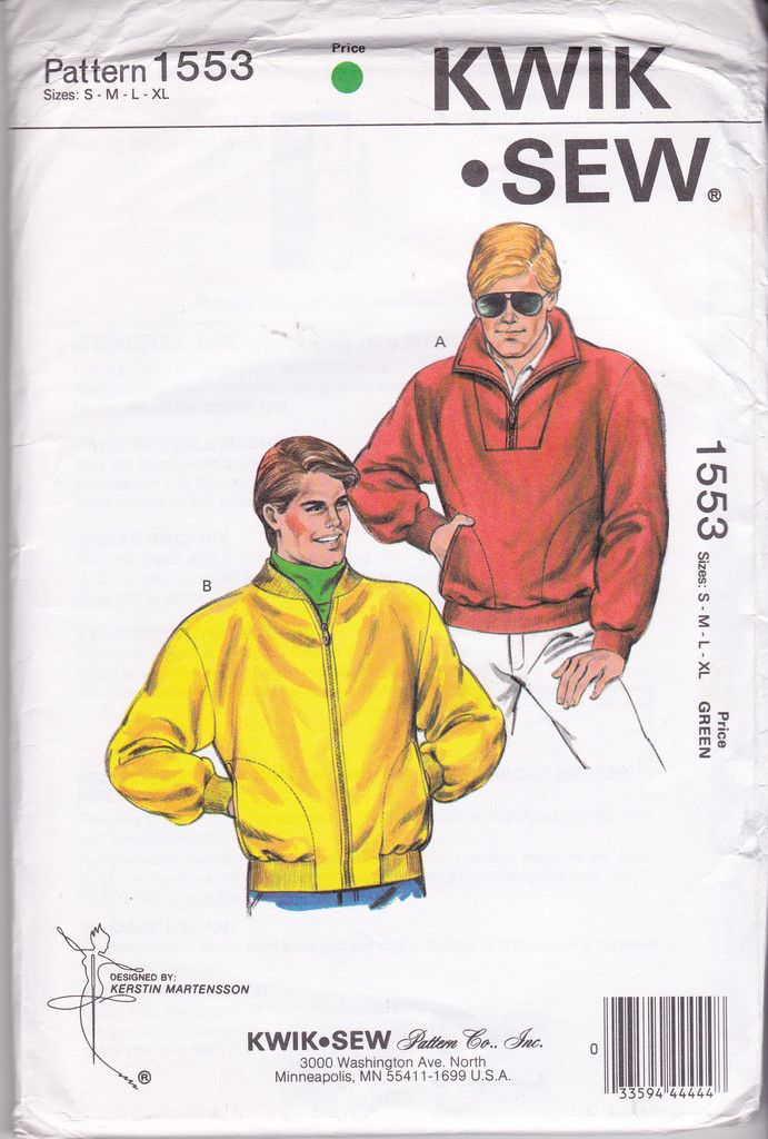 80s Mens Stretch Pullover or Zip Front Jacket Pattern Kwik Sew 1553 ...