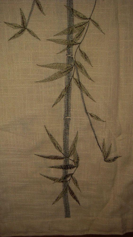 Wamsutta Bamboo Embroidered Natural Fabric Shower Curtain 72x72