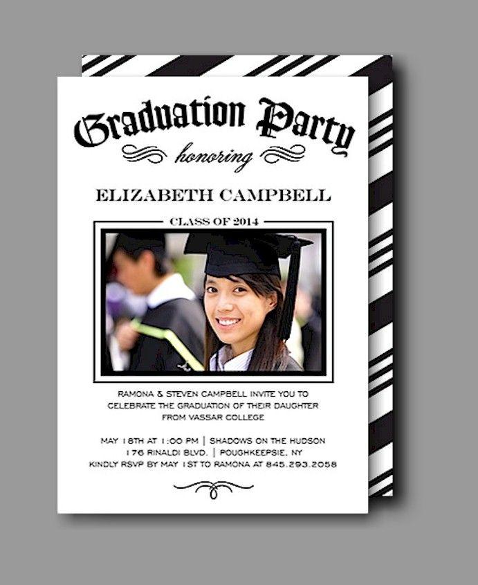Diploma Party White Graduation Announcement