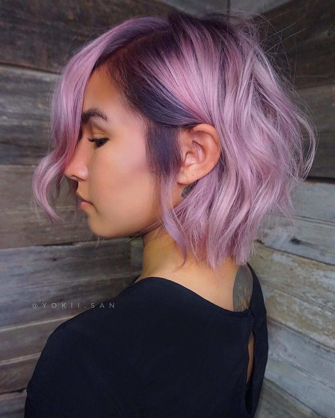 Purple Roots And Pink Hair For The Win Hair Color By Yokii San Haircolor Color Pink Purple Bala Dark Purple Hair Hair Color Purple Cool Hair Color