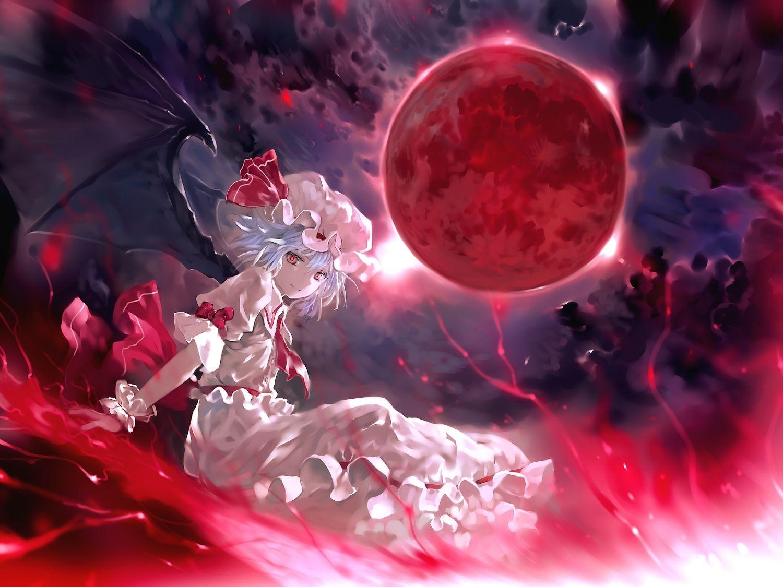 blue_hair bob_(biyonbiyon) clouds dress hat moon night red
