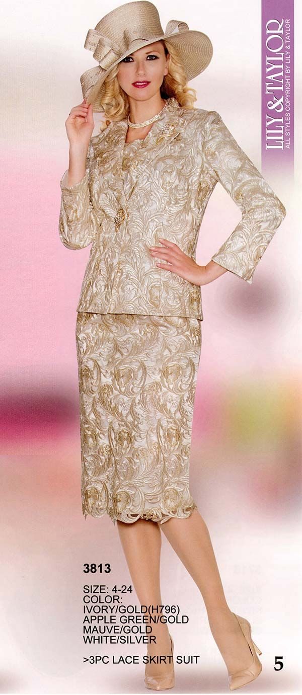 Ladies silver colored dresses and suits