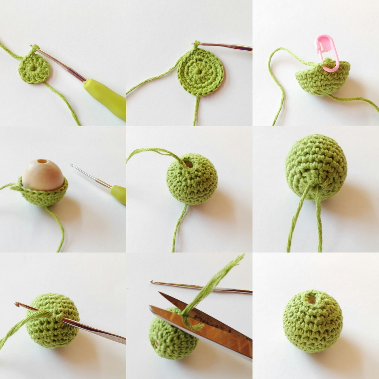 proceso de elaboración de las bolas de madera forradas a ganchillo ...