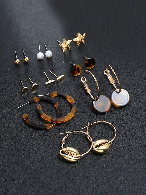 9 Piece Tortoise Star Shell Stud Drop Earrings Set   GOLD