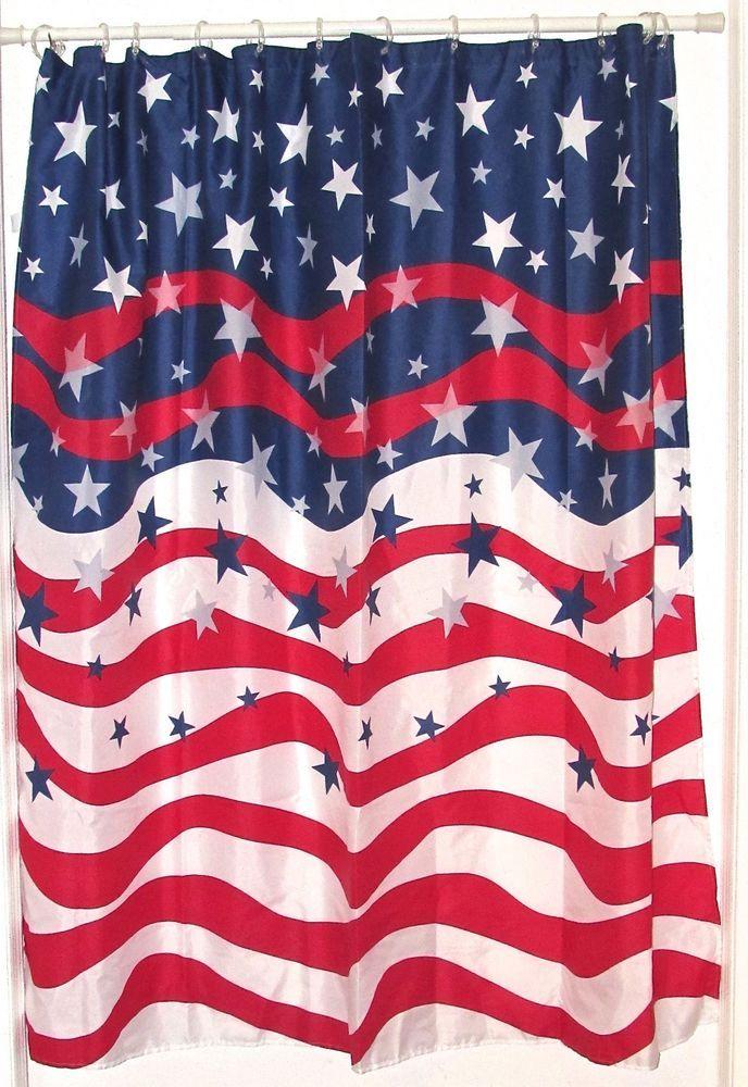 Patriotic American Flag Shower Curtain | Guest bathroom | Pinterest ...