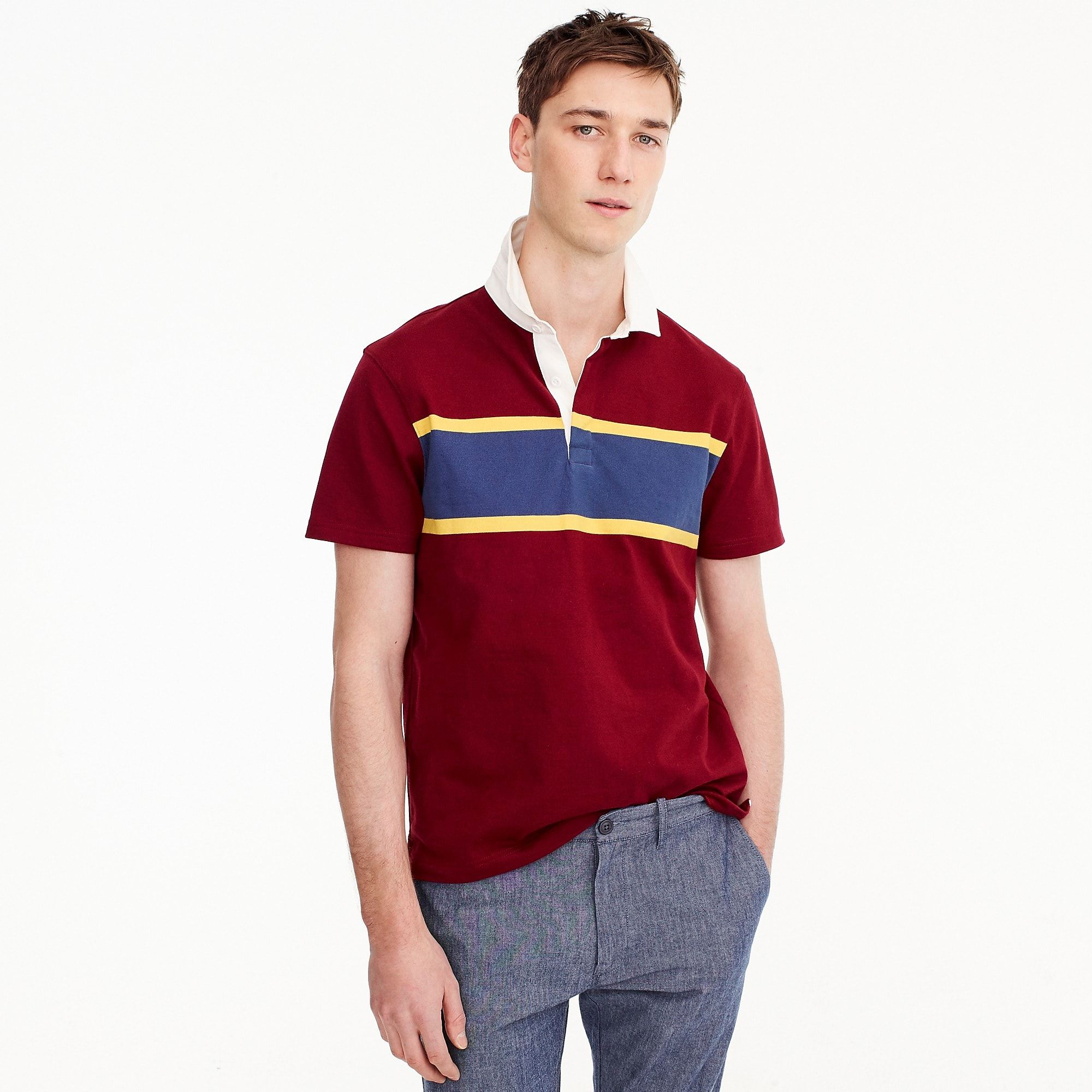 9ea13293e85 Short-sleeve 1984 Rugby Shirt in Red in Mahogany (J Crew) | AW19 RB ...