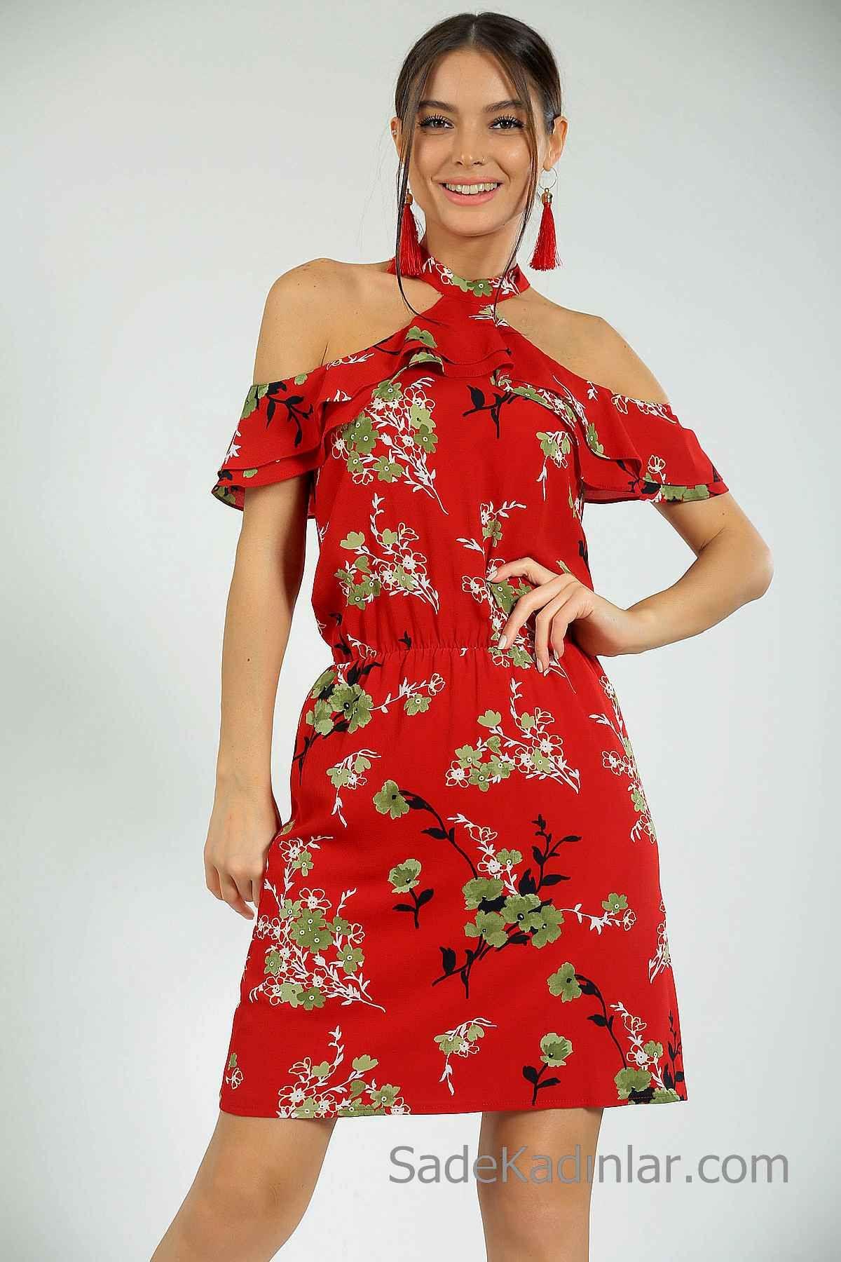 2020 Gunluk Elbise Modelleri Kirmizi Kisa Boyundan Askili Omuzlar Acik Dusuk Kol Desenli Elbise Modelleri Elbise Elbiseler