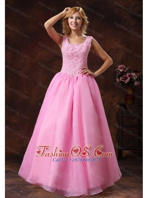 Rose Pink Wide Scoop Lace-up Princess Prom Dress For Party Appliques ...