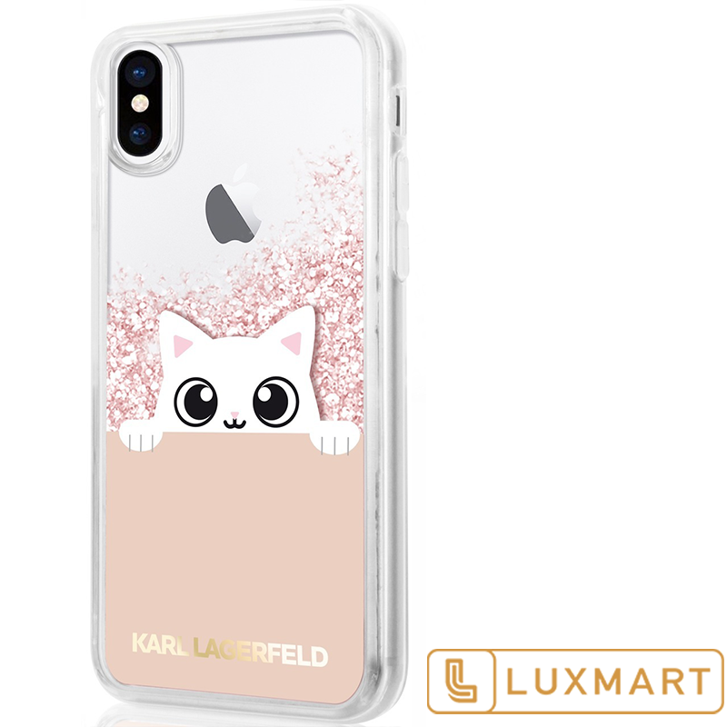 Karl Lagerfeld Case For Iphone X Peek A Boo Collection Liquid Glitter Pink Gold Iphone Cases Iphone Case