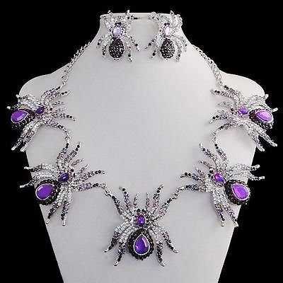 Halloween 5 Spider Necklace Earring Set Rhinestone Crystal Purple Insect