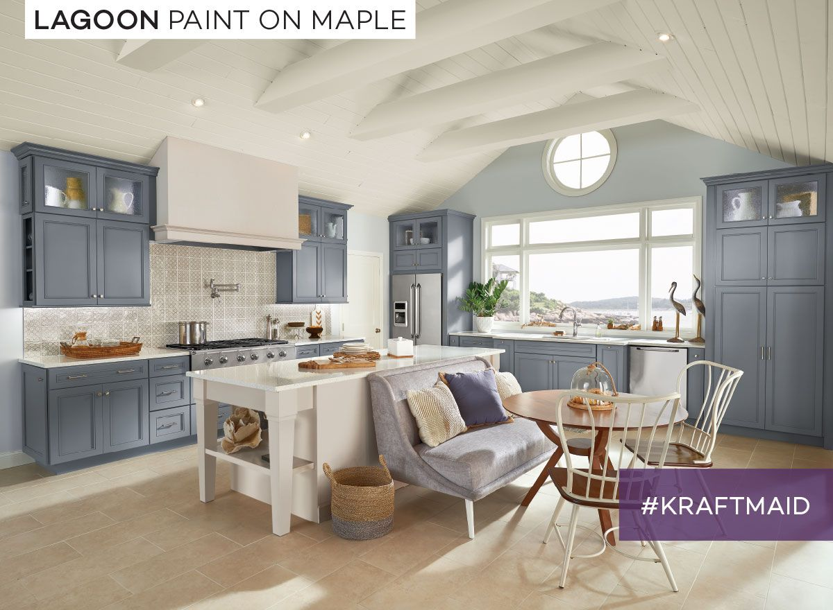 A Medium Blue With Smoky Grey Undertones Kraftmaid Lagoon Paint