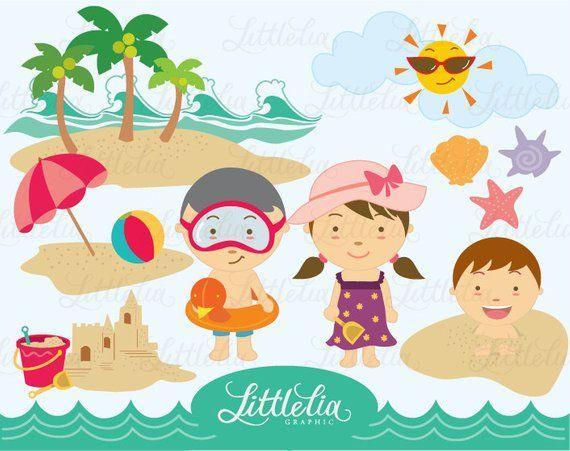 Summer Beach Playground Clipart Set Instant Download 14003 Etsy Clip Art Beach Clipart Etsy Banner