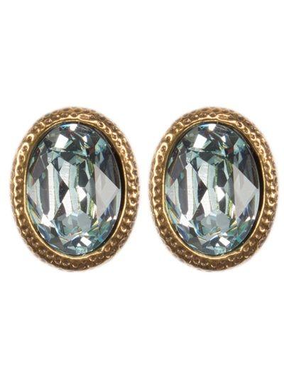 "ESTELA GEROMINI Brinco ""Diamond Blue"" Dourado."