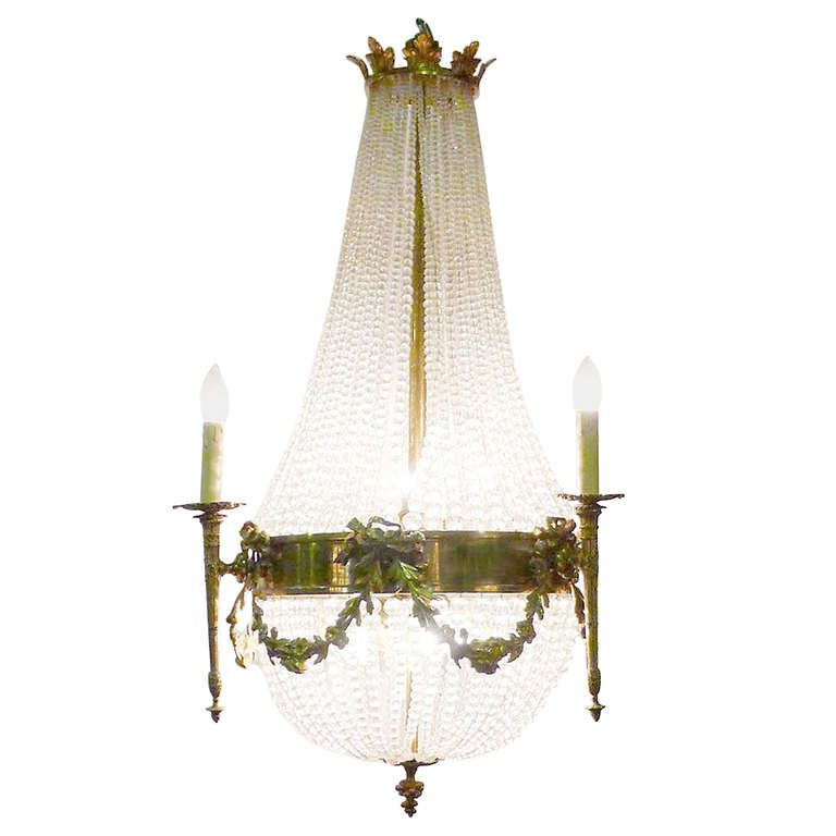 20th Century Crystal Chandelier 'Sac a Perle' | From a unique collection of…