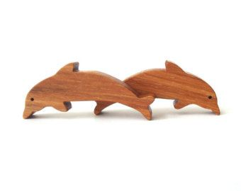 Wooden Dolphin Toys Waldorf Miniature Noah's Ark Zoo Ocean Play Set Hand Cut Scroll Saw