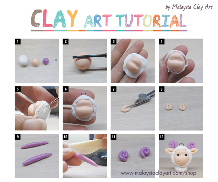 Free clay tutorial learn how to make a very cute sheep for Clay mural tutorial