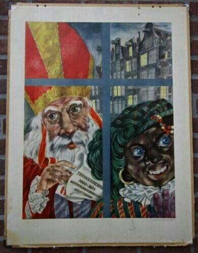 53acef0ac7a637 Schoolplaat | Sinterklaas Sint Nicolaas (oud) | Zwarte piet, Sint ...