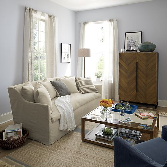 Serene Slipcovered Sofa Crate And Barrel Home Decor