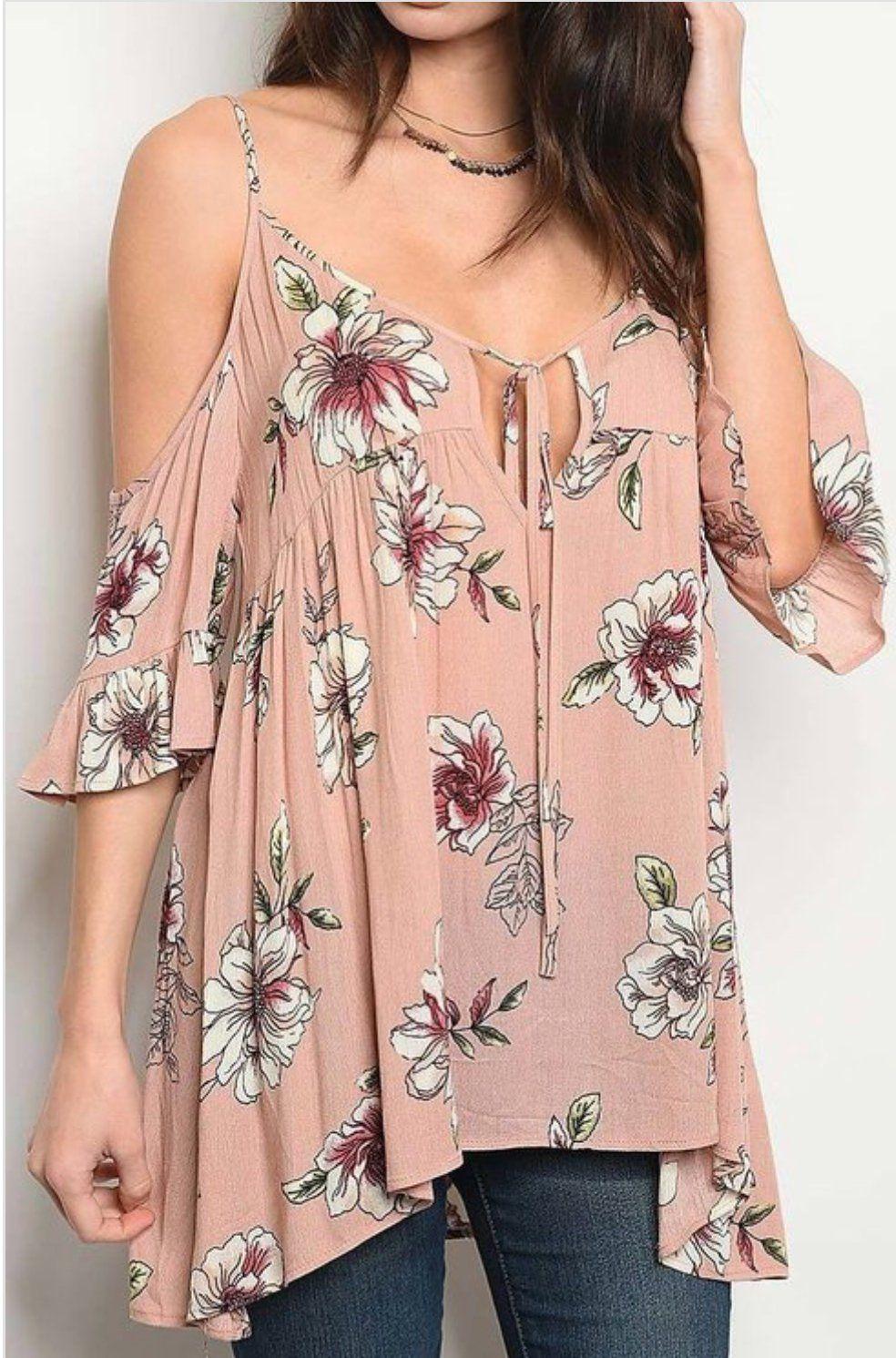 Floral Open Shoulder Top