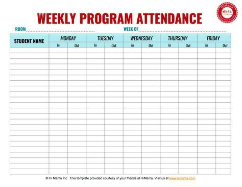 Daycare Sign In Sheet Template Weekly MF Daycaresupplies