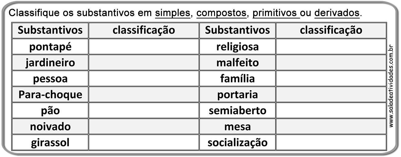 Atividades Substantivos Simples Compostos Primitivos Derivadossala