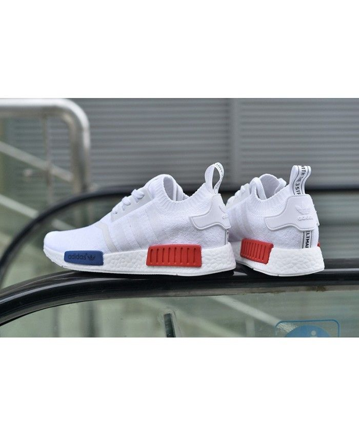 e542db8c593 Adidas NMD Runner Primeknit White Navy Blue Red Shoes S79169 ...