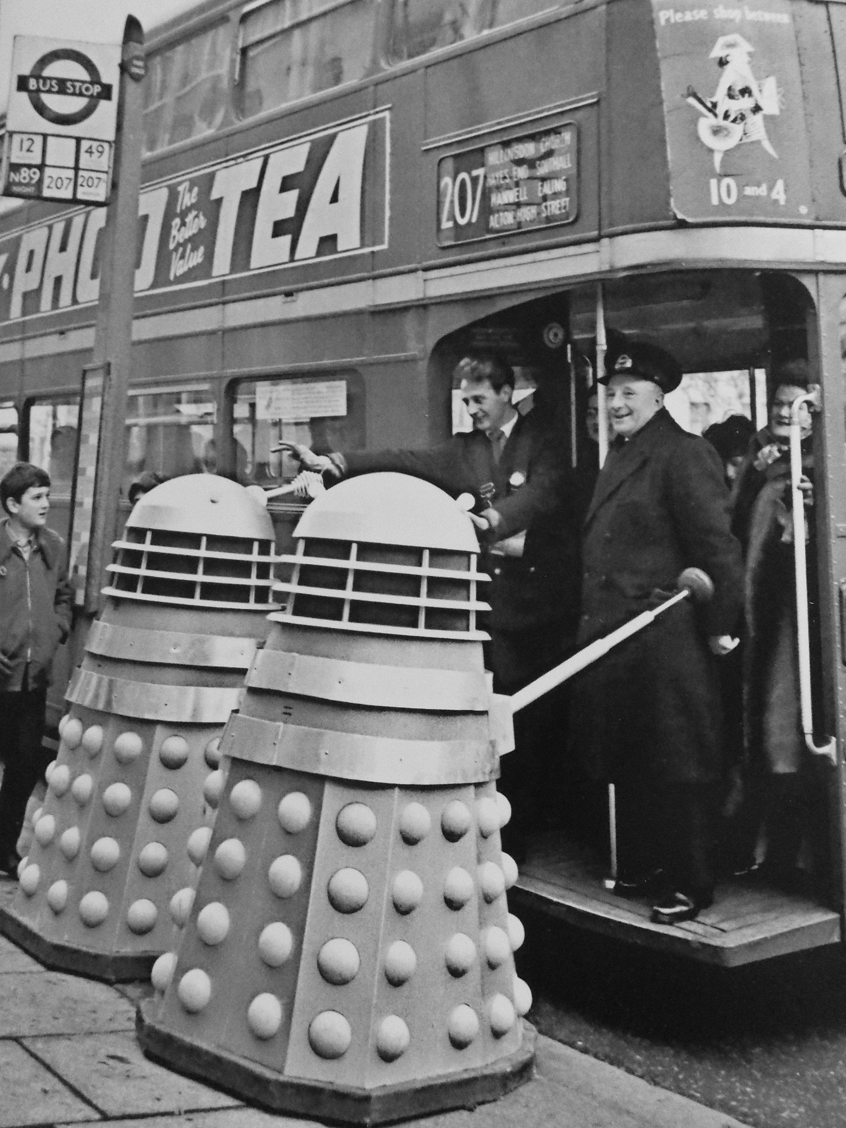 A number 207 London bus being high jacked  by two Daleks......Exterminate exterminate!!