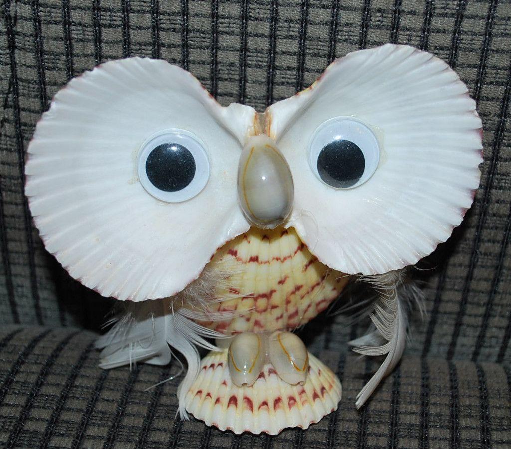 Owl made sea shells 4 souvenir vintage shellcraft for Seashell ornaments craft
