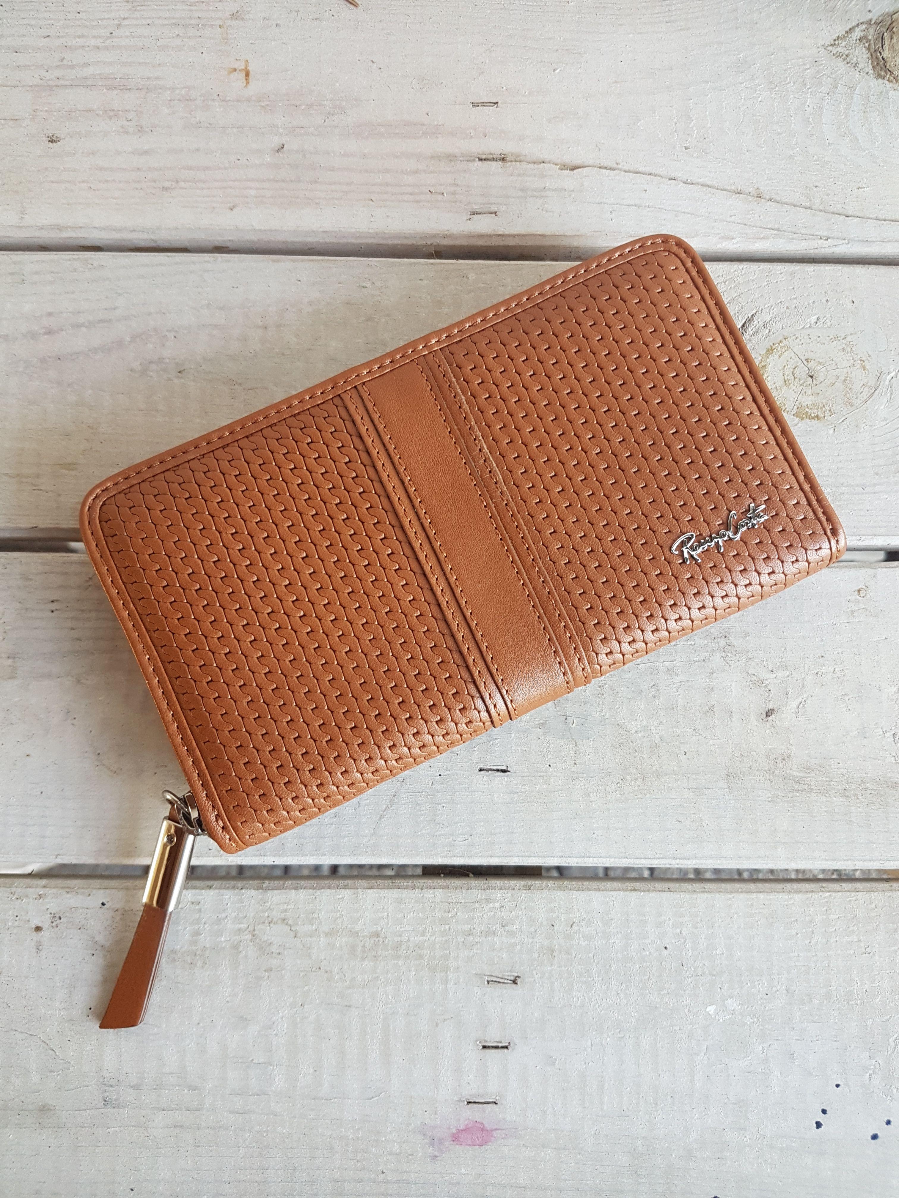 Kalfsleren Portemonnee.Brown Leather Purse Bruine Leren Portemonnee Dames