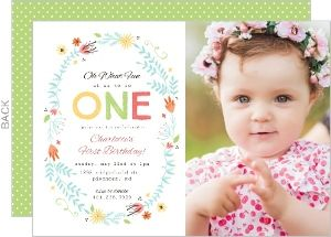 Floral spring frame first birthday invitation 1st birthday floral spring frame first birthday invitation filmwisefo Images