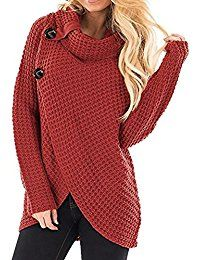 3f709ac10 Inorin Womens Casual Cowl Neck Wrap Long Sleeve Chunky Knit Sweater  Pullover Jumper