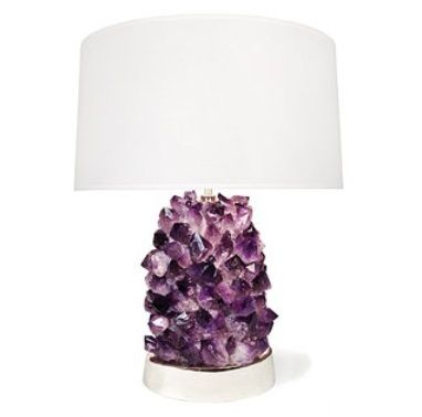 Crystal Lamp With A Glowing Base Plus Hot Pink Geode Napkin Rings Coasters And Gorgeous Druzy Necklaces Purple Lamp Purple Table Lamp Table Lamp Lighting