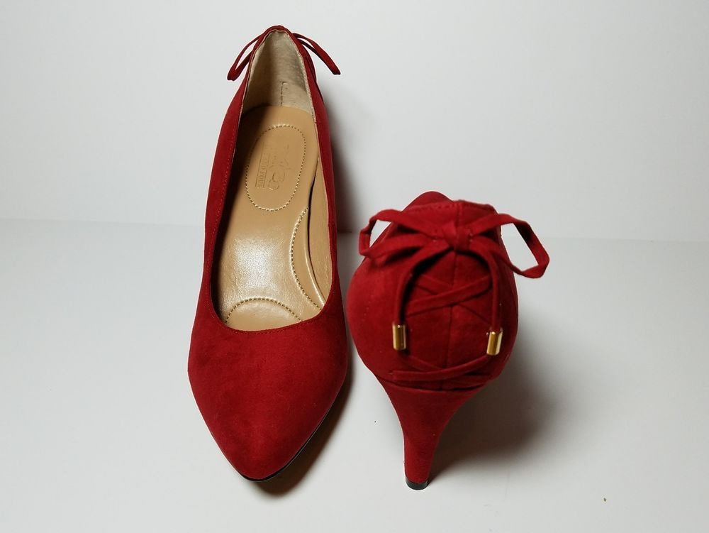 ea1fe07f6ccf0 Coach & Four Heels Size 8 Louisa Red Suede leather Pump Faux Back Ties |  Clothing, Shoes & Accessories, Women's Shoes, Heels | eBay!