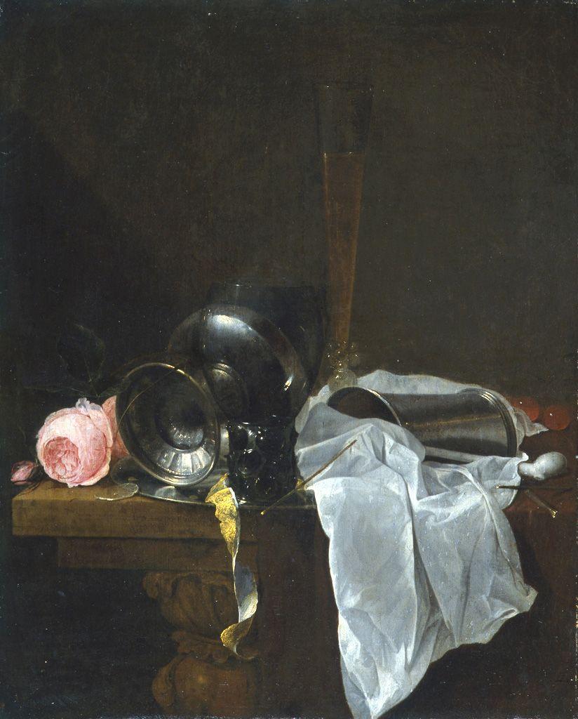 """""""Roses, coupe et timbales avec deux verres sur une table""""de Heem © Musée des Beaux-Arts-mairie de Bordeaux. Cliché L. Gauthier"""