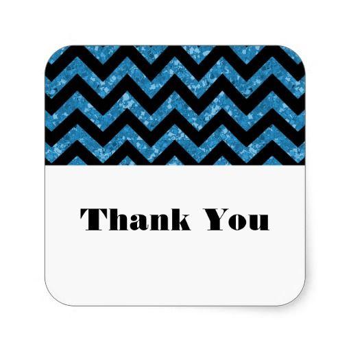 Blue Chevron Glitter Thank You Stickers Stickers