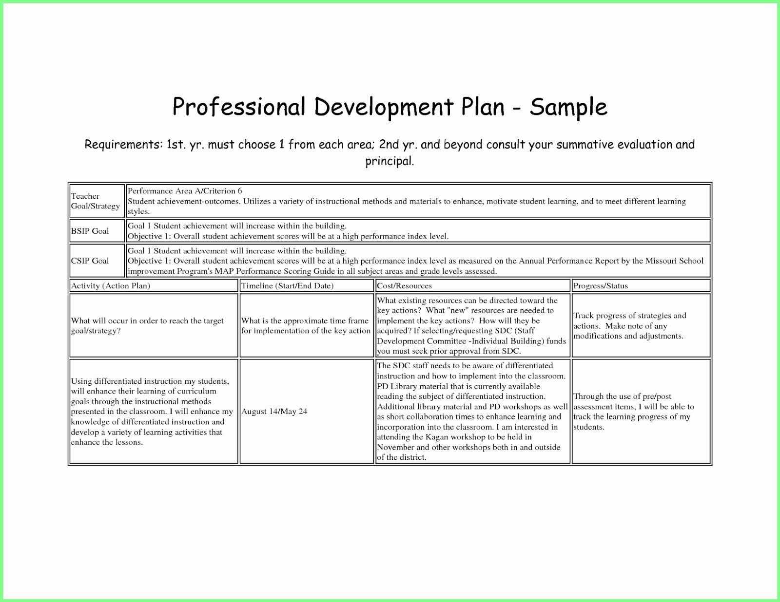 Professional Development Plan for Teachers Example Elegant