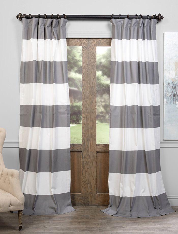 Slate Grey U0026 Off White Horizontal Stripe Curtain