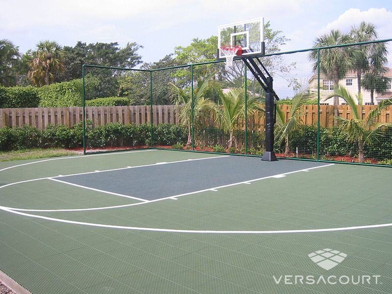 Green Basketball Court With Containment Fencing Basketball Court Backyard Outdoor Basketball Court Backyard Basketball