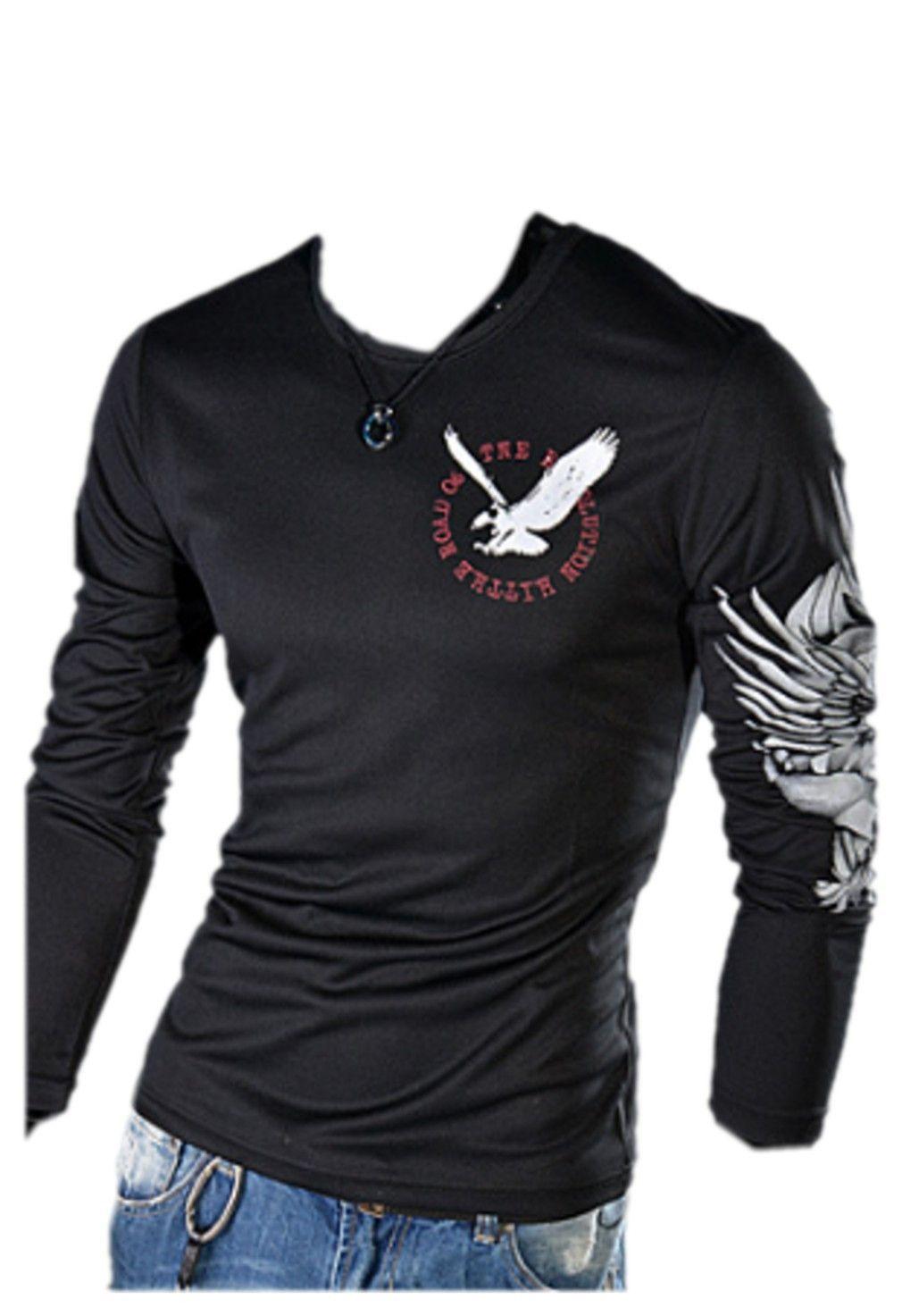 QualityUC Mens American Clothes Fashion Long Sleeve USA Eagle Shirt