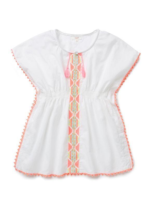 Girls Shirts Tops Tees | Embroidered Kaftan | Seed Heritage ...