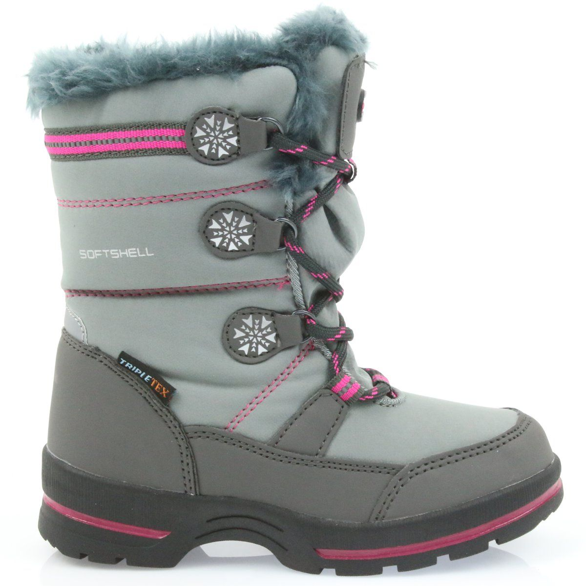 American Club American Buty Zimowe Z Membrana 702sb Szare Rozowe Boots Winter Boots Childrens Boots