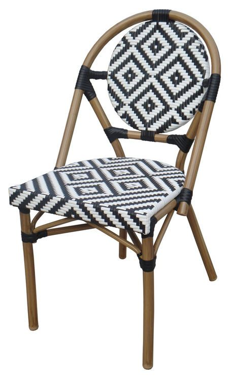 Black u0026 White Aluminum and Wicker Cafe Chair  sc 1 st  Pinterest & Black u0026 White Aluminum and Wicker Cafe Chair | Possibilities | Pinterest