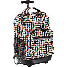 J World New York Sunrise Rolling Backpack - CHECKERS Wheeled Backpack NEW