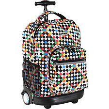 J World New York Sunrise Rolling Backpack - CHECKERS Wheeled Backpack NEW